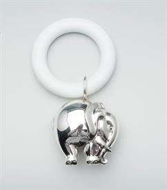 "-SILVERPLATE ELEPHANT RATTLE WITH WHITE TEETHING RING,4""ON LENGTH."