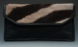 "_ZEBRA HIDE & BROWN LEATHER CLUTCH. 11.5""x6.25""."