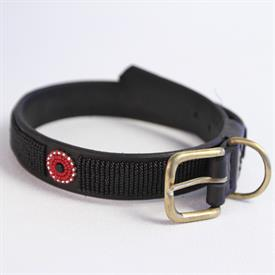 "-SMALL MAASAI BEADED DOG COLLAR. 12"" LONG. HANDCRAFTED IN AFRICA WITH BROWN LEATHER AND BEADS."