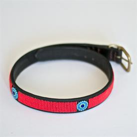 "-MEDIUM MAASAI BEADED DOG COLLAR. 15""LONG. HAND CRAFTED WITH LEATHER AND BEADS IN AFRICA."