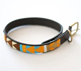 "-LARGE MAASAI BEADED DOG COLLAR. 18"" LONG. HAND CRAFTED IN AFRICA WITH BROWN LEATHER AND BEADS."