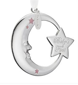 _Girl's Baby's 1st Moon Silver Plated Ornament by Reed & Barton Pink theme for a baby girl.