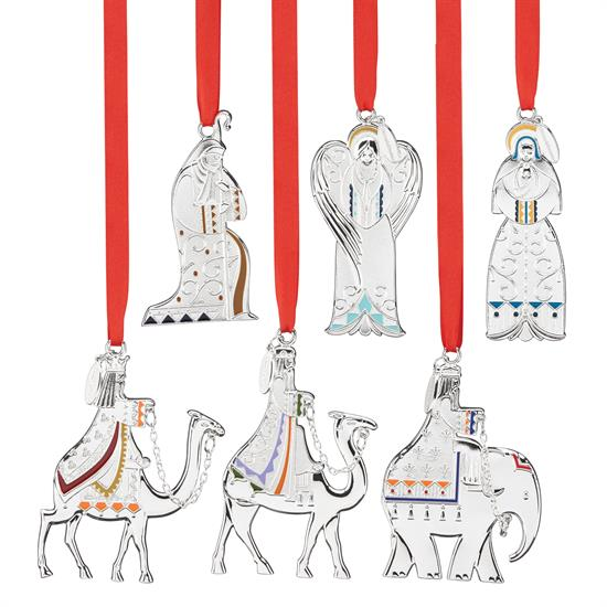 """Reed & Barton ,_Nativity Set of 6 Silver Plated Ornaments Includes: 3 Kings: Melchoir, Gaspar, Balthazar + Holy Angel, Joseph, Mary&Child MSRP$100 3""""HEIGH - Year Made   2016"""