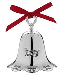 "_Musical Bell 36th Edition Silver Plate Year 2016 (Holly Border) Plays ""Silver Bells"" MSRP $60.00 #5171034 UPC#044228035659 b"