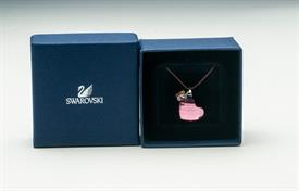 ,PINK FACETED CRYSTAL HEART PENDANT NECKLACE W BUTTERFLY CHARM ORIGNINAL BOX