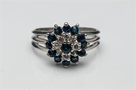 _14K WHITE GOLD SAPPHIRE AND DIAMOND CLUSTER STYLE RING