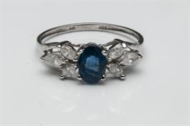 _14K WHITE GOLD OVAL SAPPHIRE RING WITH MARQUISE DIAMOND SIDE STONES