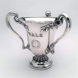 ",YALE STERLING SILVER TROPHY CUP 52.35 TROY OZ BY DOMINICK & HAFF, 9.8"" TALL. PRESENTED TO A MEMBER BY THE OMICRON, CHI PHI FRATERNITY"