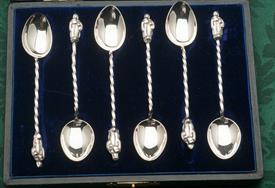 ,SET OF 6 DEMITASSE SPOON STERLING SILVER MADE IN BIRMINGHAM ENGLAND 20TH CENTURY WITH JESUS FIGURALS ON THE TOPS OF THE HANDLES