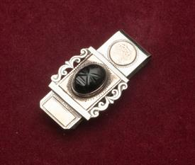 MONEY CLIP MADE IN TAXCO MEXICO OF BLACK ONYX AND GILT DESIGN ELEMENTS STERLING SILVER AND GOLD