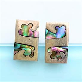 ",STERLING SILVER & ABALONE MODERNIST STYLE CUFFLINKS. SIGNED 'MLV'. .8"" LONG. COMBINED WEIGHT OF .25 OZT"