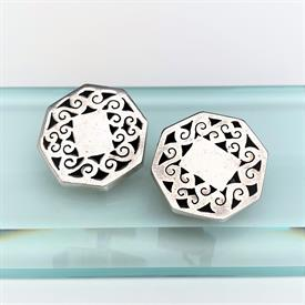 ",1940'S C. MOLINA MEXICAN STERLING SILVER 'SHADOWBOX' CUFFLINKS. 1.2"" WIDE, .6 OZT"