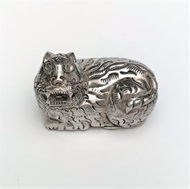 ",CAMBODIAN SILVER BETEL NUT BOX. FIGURAL CAT. 90% PURE SILVER. 1.25""T X 1.5""W X .75""D"