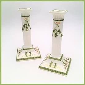 ",PAIR OF PORCELAIN CANDLESTICKS BY MAX ROESLER, RODACH, GERMANY. 7.75"" TALL. CA. 1910-1921"