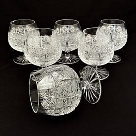 ,'QUEEN LACE' BOHEMIA CZECHOSLOVKIA HAND CUT CRYSTAL BRANDY SNIFFTERS SET 6 C 1980'S