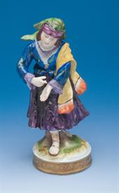 """GYPSY GIRL VOLKSTEDT PORCELAIN FIGURINE. 1950'S-1960'S. 5.25"""" TALL WITH ORIGINAL BOX. #V20773"""