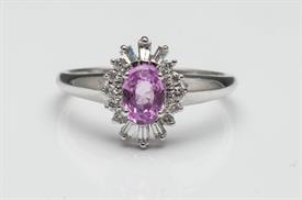 _14K WHITE GOLD OVAL PINK SAPPHIRE RING WITH BAGUETTE AND ROUND DIAMONDS. SIZE 8