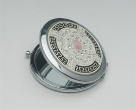 _'ELEGANCE IN PINK' SILVER COMPACT MIRROR