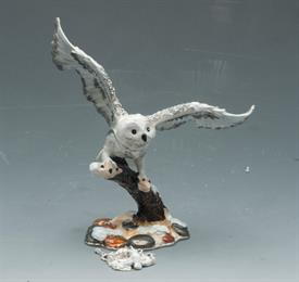 """,_WHITE AND GRAY OWL LANDING ON TREE BRANCH WITH 5"""" WIDE WINGSPAN"""