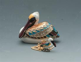 """_,2"""" WIDE BROWN, WHITE AND BLUE PELICAN WITH BLUE RHINESTONE EYES"""
