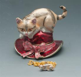 ",_2"" STRIPPED CAT ON RED HAT WITH PINK BOW"