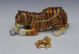 ",_BABY TIGER WITH PACIFIER IN MOUTH BOX WITH MATCHING NECKLACE. 1.8"" TALL, 4"" LONG."
