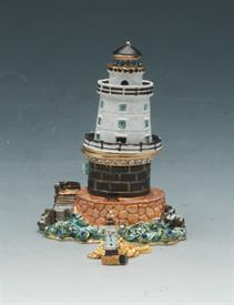 ",_3.25"" LIGHTHOUSE ON ROCKY SHORE BOX WITH RHINESTONES"