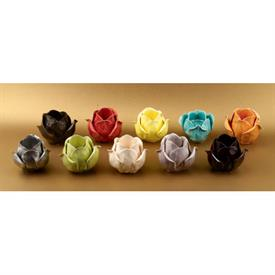 _CERAMIC ROSE VOTIVE CANDLE HOLDERS, ASSORTED COLORS