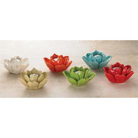 _ASSORTED BRIGHT COLORS LOTUS VOTIVE CANDLE HOLDERS