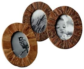 "_4X6"" OVAL BARK FRAMES. NATURAL VARIATIONS IN THE WOOD MEAN EACH FRAME IS SLIGHTLY DIFFERENT."