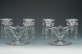 :PAIR OF ETCHED GLASS CANDELABRAS WITH CRYSTAL DROPS. MISSING ONE DROP.