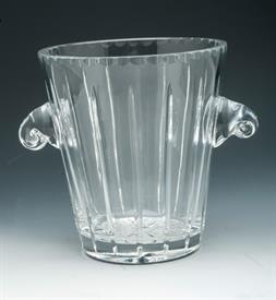 "BEAUTIFUL GLASS ICE BUCKET WITH SCROLL HANDLES 9.25""T X 8.25""D"