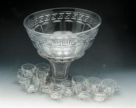 HEISEY GREEK KEY PUNCH BOWL & STAND WITH 13 HEISEY COLONIAL PUNCH CUPS. BOWL HAS SLIGHT CHIP ON RIM & SOME SCRATCHING IN BASE