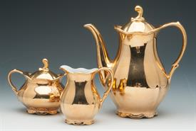 RULDOLF WACHTER (PM&M) BAVARIAN PORCELIAN COFFEE POT, CREAMER,SUGAR (SM.CHIP ON EDGE) CIRCA 1920'S-30'S