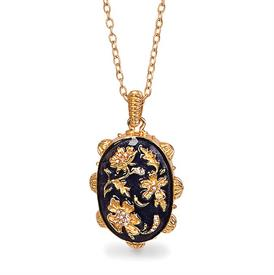 ",-CHINOISERIE OVAL PENDANT NECKLACE IN DELFT GARDEN. 18K GOLD FINISH WITH HAND ENAMELING & SWAROVSKI CRYSTALS. 34"" CHAIN, 3"" PENDANT"