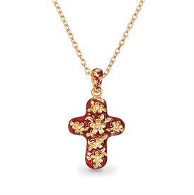 ",-FLORAL CROSS PENDANT NECKLACE IN SIAM. 18 KARAT GOLD FINISH, HAND ENAMELED WITH HAND SET SWAROVSKI CRYSTALS. 16"" CHAIN, 2"" PENDANT"