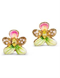 ,-ROSALINDA VIOLET POST EARRINGS IN FLORA. HAND PAINTED ENAMEL AND SWAROVSKI CRYSTALS SET IN 18K PLATED GOLD. MADE IN THE U.S.A.