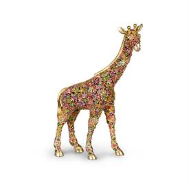 -,GOODWIN MILLE FIORI GIRAFFE FIGURINE. 14K GOLD OVER PEWTER HAND ENAMELED & SET WITH SWAROVSKI CRYSTALS. MADE IN RHODE ISLAND. 9.75""
