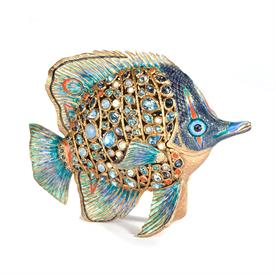 ",-WESTON BUTTERFLY FISH FIGURINE IN OCEANA. 14K GOLD FINISHED METAL, HAND ENAMELED & SET WITH CRYSTALS. 8"" LONG, 6.25"" TALL, 5"" WIDE."