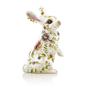 "-,SUNNY FLORAL BUNNY FIGURINE. HAND ENAMELED & SET WITH SWAROVSKI CRYSTALS. 6.25"" TALL"