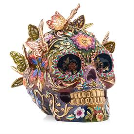 "-,FRIDA SKULL WITH BUTTERFLIES FUGURINE. HAND ENAMELED & SET WITH SWAROVSKI CRYSTALS. MADE IN THE USA. 6.5"" TALL, 6.25"" WIDE"