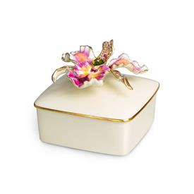 "-,ORIANA ORCHID PORCELAIN BOX IN FLORA. PORCELAIN W/ 14K GOLD PLATED ZINC, HAND ENAMELING & HAND-SET SWAROVSKI CRYSTALS. 4.75"" X 3.5"" X 4.75"