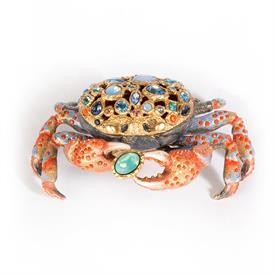 "-,GAVIN CRAB BOX IN OCEANA. HAND ENAMELED AND SET WITH SWAROVSKI CRYSTALS IN A 14 KARAT GOLD PLATED METAL. 5"" LONG, 3.5"" WIDE, 2.5"" TALL"