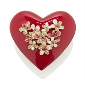 "-,MAREN PORCELAIN BOUQUET HEART BOX. HAND ENAMELED VIOLETS ON LID SET WITH SWAROVSKI CRYSTALS. 4.75"" WIDE, 2.5"" TALL"