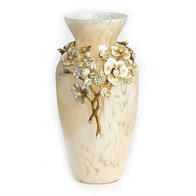 "-,POLLY BOUQUET VASE IN GOLDEN. GLASS VASE WITH 14K GOLD OVER STEEL, HAND ENAMELING AND HAND-SET SWAROVSKI CRYSTALS. 8"" X 4""."