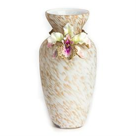 ",-LORETTA ORCHID VASE IN FLORA. GLASS VASE WITH 14K GOLD OVER STEEL, HAND ENAMELING & HAND-SET SWAROVSKI CRYSTALS. 8"" X 4""."