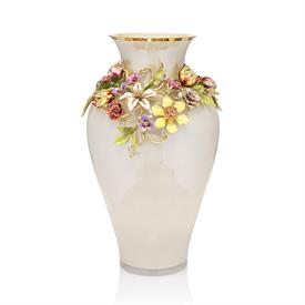 "-,LOUISA DUTCH FLORAL VASE. GLASS VASE W/ A GARLAND OF HAND ENAMELED 14K GOLD FINISHED PEWTER W/ SWAROVSKI CRYSTALS. MADE IN THE USA. 21""T"