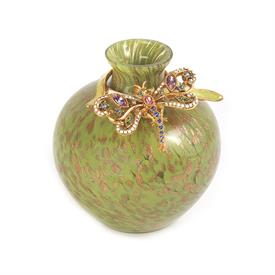 "-,ALICE LEAF DRAGONFLY VASE. GLASS VASE WITH 14K GOLD FINISHED HAND ENAMELED EMBELLISHMENT SET WITH SWAROVSKI CRYSTALS. 4"" TALL"