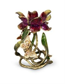 "-,MEREDITH 9"" PILLAR CANDLE HOLDER IN FLORAL. HAND ENAMELED POLISHED BRASS WITH SWAROVSKI CRYSTALS. MADE IN THE USA."