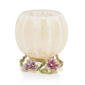 -,CARMELLA LEAF & FLOWER JEWELED VOTIVE CANDLE HOLDER. GLASS GLOBE ON HAND ENAMELED 14K GOLD FINISHED BASE W/ SWAROVSKI CRYSTALS. 3.5""